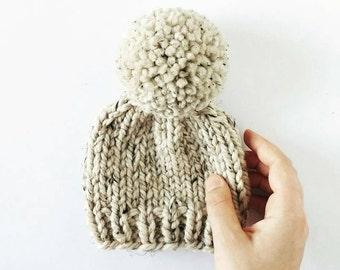Newborn Pom Pom Hat // Knit Pom Pom Hat // Baby Hat // Newborn Photo Prop // Baby Boy Hat