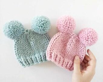 Double Pom Pom Hat    Baby Pom Pom Hat    Newborn Photo Prop    Baby Shower     Pom Pom Hats for Kids    Valentine s Day 5e3b3f98ef0