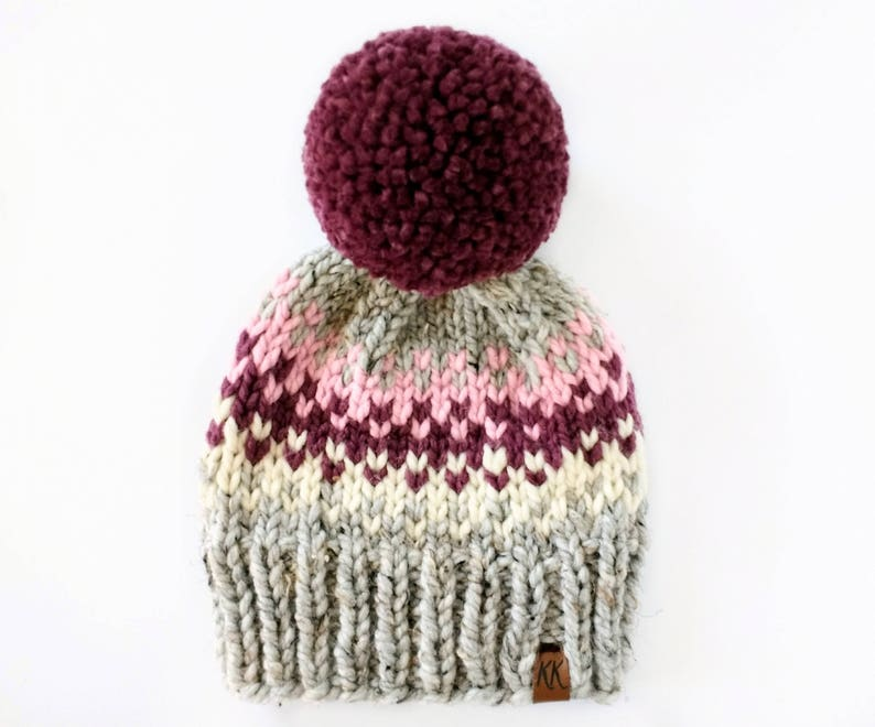 d3282b559fa Fair Isle Hat Pattern    Pom Pom Hat Knitting Pattern    Hat