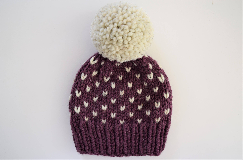 699156bc0 Fair Isle Hat Pattern // Hat Knitting Pattern // Little Hearts Pattern //  Toddler Hat Pattern // Hat Patterns
