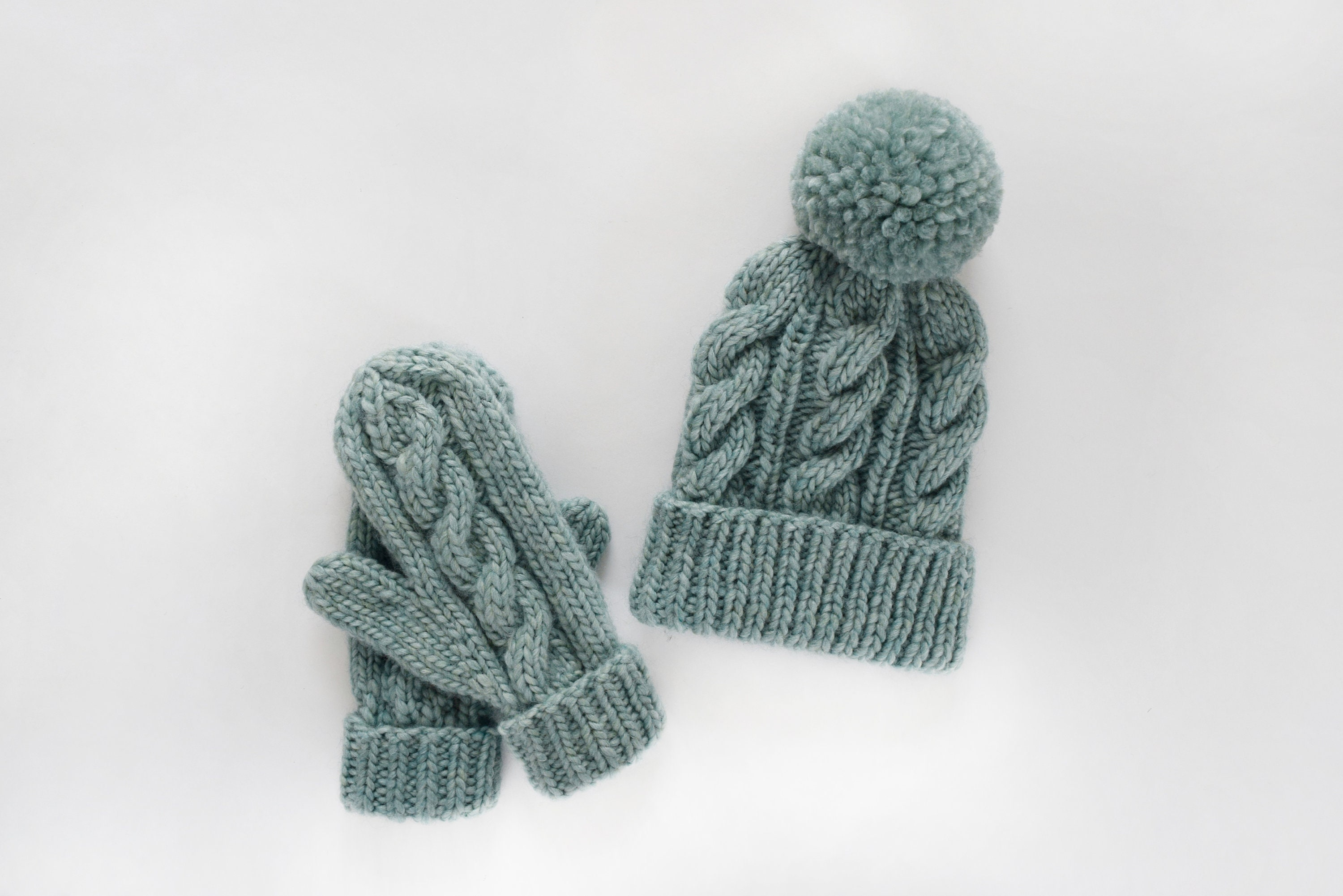 50de2c124d3 Knitting Pattern    Cabled Hat and Mittens Pattern    Cable