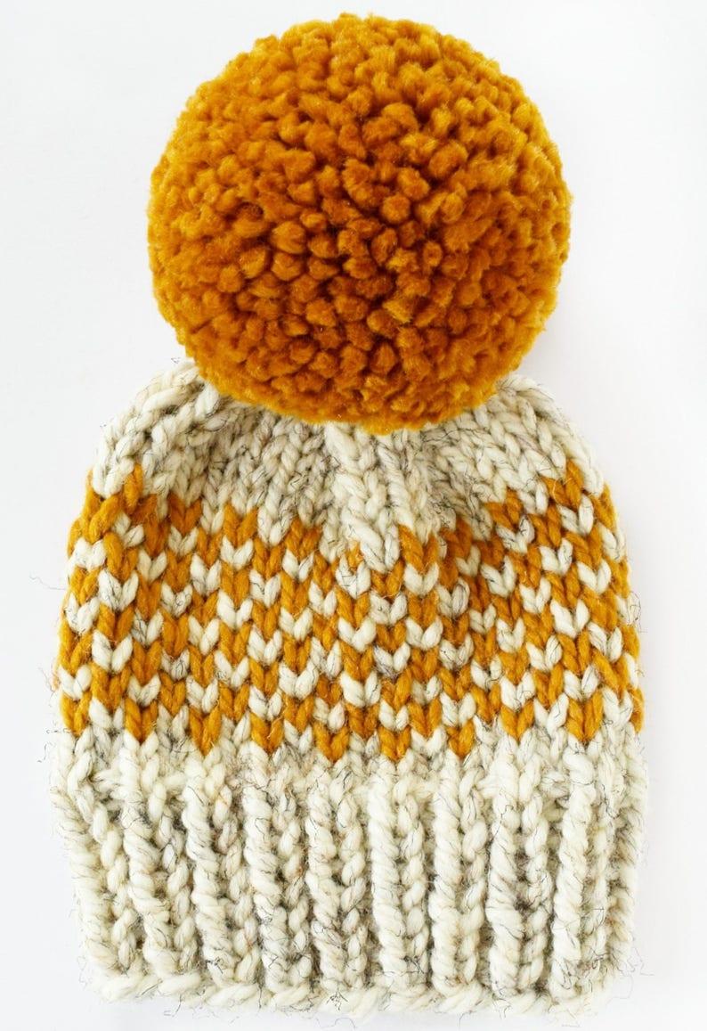 d69da54941fd8a Hat Knitting Pattern // Chunky Pom Pom Hat // Fair Isle Hat   Etsy