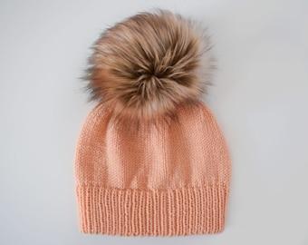 Hat Knitting Pattern // Double Brim Hat Pattern // Pom Pom Hat Pattern // Beanie Pattern // Women's Hat Pattern // Knitting Pattern