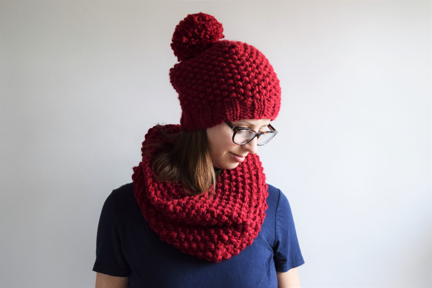 Hat and Scarf Pattern // Hat and Cowl Pattern // Chunky Knit Hat and ...