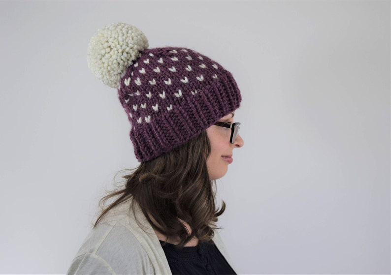 16706c80806 Knit Pom Pom Hat    Knit Fair Isle Hat    Hats for Women