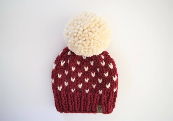 4521cb80e8e Red Knit Hat    Fair Isle Hat    Hats for Toddlers    Pom Pom