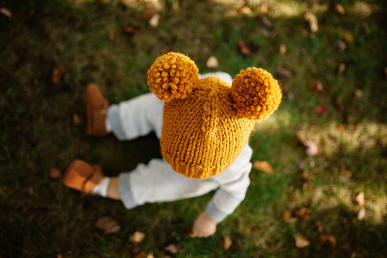 Hat Knitting Pattern    Double Pom Pom Hat Pattern    Toddler  4de7e3c7811