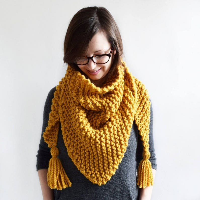 Triangle Tassel Scarf Knitting Pattern Knit Scarf Etsy