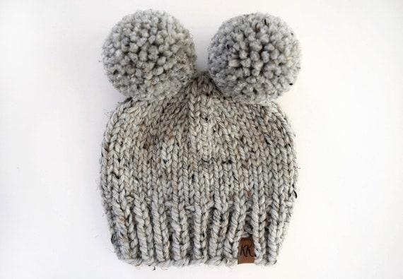 Hat Knitting Pattern Knit Beanie Pattern Chunky Pom Pom Etsy