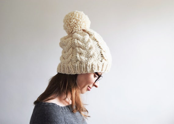 Womens Hats    Women s Pom Pom Hat    Cable Knit Hat     d8ab6dff753