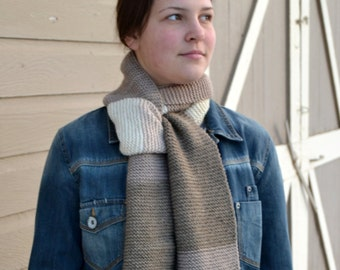 Knit Scarf Ombre BOSTON CREAM, Hand knit, wool blend, color block, tan brown taupe, fringe (1738)