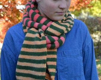 """Knit Striped Scarf, DARK OLIVE green with SPICE shades of orange color blocks, hand knit, 83"""" x 7"""" wool blend, tube scarf warm (2171)"""