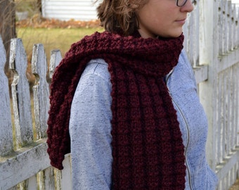 Executive Scarf, LANDEN in CLARET, burgundy hand knit thermal waffle stitch professional unisex classic gift for him winter accessory (2063)