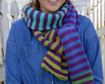 "Knit Striped Scarf, BERRY with BLUEBERRY KIWI blue green color blocks, hand knit, 83"" x 7"" wool blend, tube scarf warm (2310)"