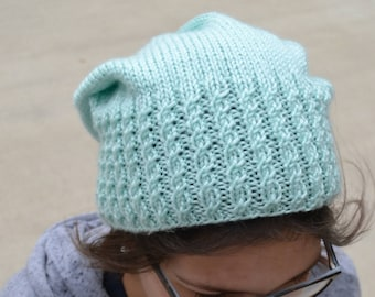 Caroline: WINTERGREEN Knit Slouch Beanie Mock Cable Brim Hat, Hand Knit (2606)
