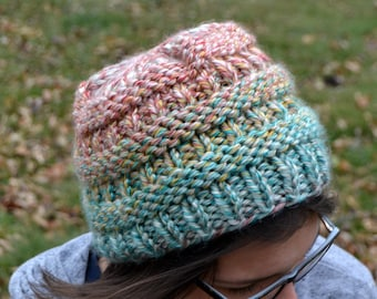 Knit Chunky Beanie Hat, BOXCAR Hand Knit in FARGO Fields, bulky oversized soft ribbed banded warm CC style trendy red blue green yellow