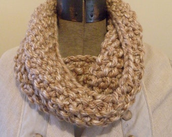 Knit Infinity Cowl Scarf Hand Knit Scarf in BROWN SUGAR (558 559)