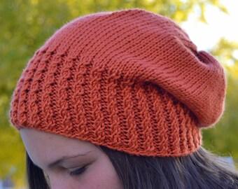 Caroline: PUMPKIN Knit Slouch Beanie Mock Cable Brim Hat, Hand Knit orange handmade knitting slouchy free shipping (2765)