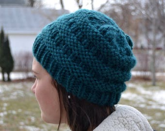 Knit Chunky Beanie Hat, BOXCAR Hand Knit in PEACOCK Teal, bulky oversized soft ribbed banded warm CC style (3035)