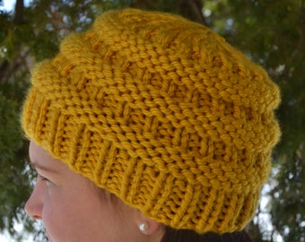 Knit Chunky Beanie Hat, BOXCAR Hand Knit in MUSTARD Yellow, bulky oversized soft ribbed banded warm CC style (2075)