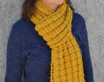 Knit Scarf, ERICA in Mustard yellow hand knit thermal waffle stitch professional unisex classic gift winter accessory free shipping (1899)