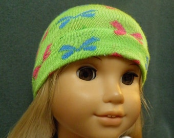 "American Girl Doll Hat, GREEN Skull Cap with Ribbon Pattern for 18"" Doll"