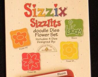 Sizzix Sizzlits Dies, FLOWER Doodle 4-Die Set