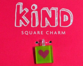 Charm American Girl KIND square scrapbooking jewelry diy doll heart accessories crafts beading exclusive collectible Breast Cancer Awareness