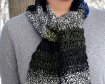 Hand Knit Drop Stitch Scarf, CHRYSTLER, alpaca bamboo wool blend, black white navy blue green (1151)