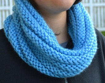 Hand Knit Cowl Infinity Scarf, BOSSO - CAROLINA BLUE Ribbed Neckwarmer (1121)