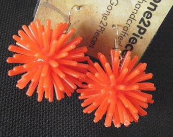 "Spiky ""Koosh"" Ball Earrings, RED ORANGE, on French Wires, jewelry fun funky (144 145 146)"