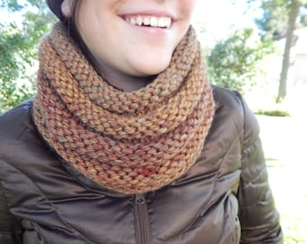Hand Knit Cowl Infinity Scarf, BOSSO - El Paso Autumn Ribbed Neckwarmer (987)