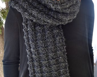 Executive Scarf, LANDEN in CHARCOAL HEATHER, gray hand knit thermal waffle stitch professional unisex classic winter accessory (2974)