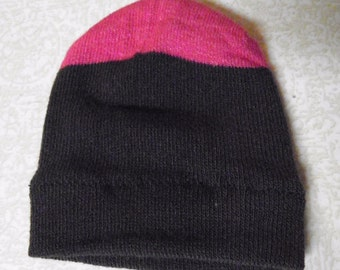 """American Girl Doll Hat, BLACK with HOT PINK Accent Skull Cap for 18"""" Doll"""
