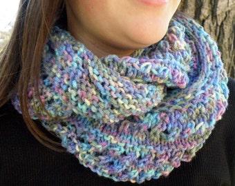 Hand Knit Eyelet Infinity Cowl Scarf, MONET Cascades (1064)