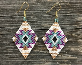 Native American Beaded Earrings CHEROKEE STAR - light blue, pink, gold peyote stitch glass beads beading Indian jewelry free shipping (7023)