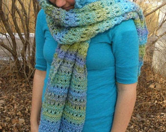 Handknit OCEAN WAVES Hand Knit Eyelet Shawl Scarf handmade women's wrap etsy fresh find gift idea outdoor wear free shipping (0918)