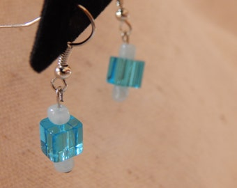 Earrings, Crystal Blue & Light Blue Glass Dangle on Silver French Wires, jewelry (323)