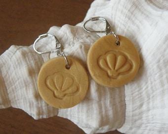 Earrings, SCALLOP Shell Clay Leverback Earrings in Mustard, jewelry (894)