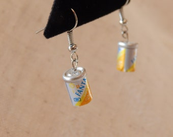 Fanta Soda Pop Yellow Orange Can Earrings on Silver French Wires, jewelry (042)