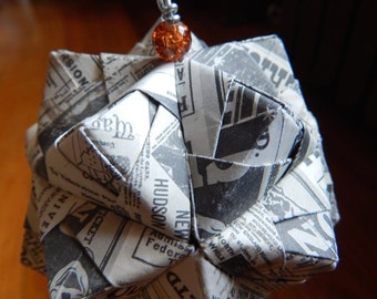 SALE NEWSPRINT Triambic Icosahedron Origami Ornament Christmas holiday Victorian decoration (874)