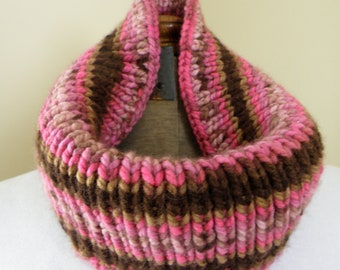 Hand Knit Cowl Infinity Scarf, CHOCOLATE RASPBERRY winter warm handmade neckwarmer free shipping (556)