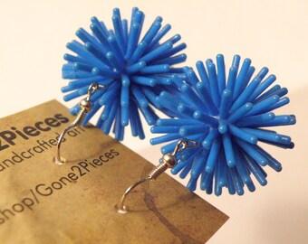 """Earrings, BLUE Spiky """"Koosh"""" Earrings on French Wires, jewelry (139 140 219)"""