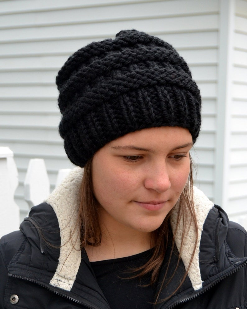 2d1043f7a20 Knit Chunky Beanie Hat BOXCAR Hand Knit in BLACK bulky