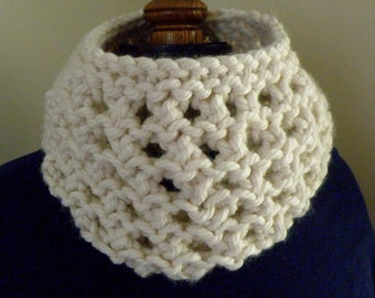 Knit WINTER WHITE Eyelet Infinity Cowl Scarf Hand knit circle scarf (569)