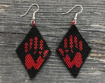 Native American Beaded Earrings MMIW Missing Murdered Indigenous Women peyote stitch glass beads beading Indian jewelry free shipping (7018)