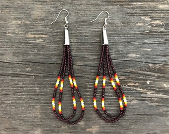 Native American Beaded Earrings Cone LOOP TASSEL long transparent amber brown beading jewelry dangle Ottawa Indian tribe free ship (4999)