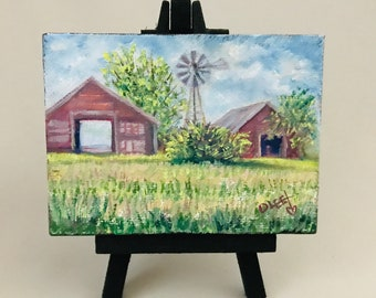 PRAIRIE WINDOWS Original Artwork by Donna Lee Bartholow Oil on Miniature Canvas 4x3 with display easel signed by artist free shipping (6012)