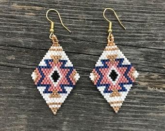 Native American Beaded Earrings CHEROKEE STAR - light pink & blue peyote stitch glass beads beading Indian jewelry free shipping (7022)
