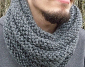 Hand Knit Cowl Infinity Scarf, CHARCOAL Gray Ribbed Neckwarmer BOSSO (2781)